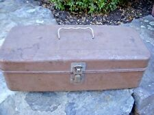 Vtg Antique Barn Find Shabby Fishing Ruler Top Tackle Metal Tool Storage Box
