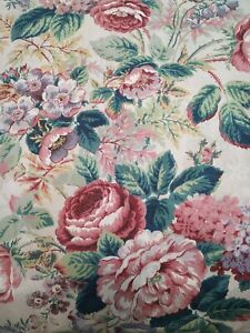 Pastel watercolor floral Jay Yang on medium weight canvas made in Canada Vintage 2 38 yard remnant