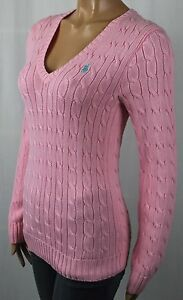 Ralph Lauren Pink Cotton Cable Knit V-Neck Sweater Turquoise Pony NWT