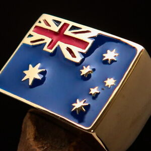 RECTANGLE SHAPED MENS BRASS AUSSIE PINKY RING SOUTH CROSS FLAG AUSTRALIA SIZE 6