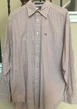 8e38d144 Tommy Hilfiger Men's Long Sleeve Red Plaid White Button Down Shirt Medium