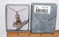 "HEMATITE-ALASKA BLACK DIAMOND TEARDROP STONE IN A BEAR PENDANT W/18"" CHAIN"