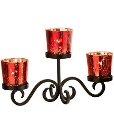 Red Votive Candles Centerpiece Set for 3 Candles
