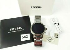 Fossil Gen 5 44mm Stainless Steel Case Smoke Smartwatch NEW BAND - FTW4024