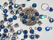 7pc Lot Miniature tiny little swarovski crystal BLUE dangle Pendant charm 4mm
