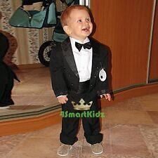 5 Pcs Set Boy Formal Wedding Suit Tuxedo Tail Page Boy Black Baby Size 0 ST001A