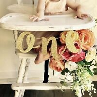 1st Birthday Baby Party Decoration High Chair Glitter Gold ONE Banner Supplies