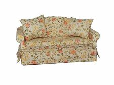 DOLLS HOUSE 1/12 SCALE QUALITY CREAM FLORAL COLOURED SOFA