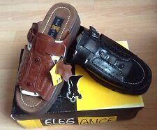 Genuine leather men's slip ons sandals size 9 10 11 Brand NEW black brown