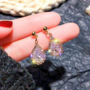 Gold Plated Crystal Drop Circle Dangle Women's Earrings with Silver Post