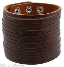 BROWN BLACK REAL LEATHER WIDE WRISTBAND WRIST STRAP BAND BRACELET PUNK A21-A22