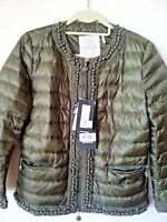 NEW  Moncler Beaded Quilted Nylon Down Feather Puffer Short Jacket Olive Green