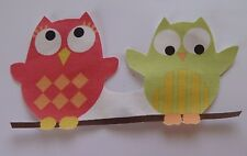 1 Iron On Applique Fabric Material Green Red Wide Eyed Owls Medium - Handcut