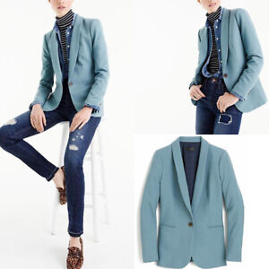 NWT $228 J.CREW Size 4P Parke Blazer in Wool Flannel MISTY LAKE BLUE Style G7726