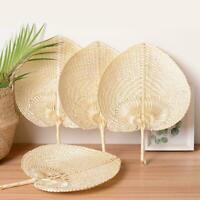 Handmade Cooling Fans Heart Shaped Woven Bamboo Fan Retro Fan DIY New R9P4
