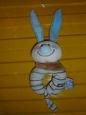 Peluche Doudou Hochet TIAMO Collection Lapin Blanc Bleu Bandana Beige  NEUF