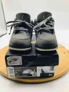 Air Jordan Boys 4 Retro Basketball Shoes Gray BQ7670-007 Lace Up Mid Top 7 C
