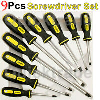 9PC SCREWDRIVER SET PRECISION MAGNETIC SOFT GRIP HANDLE PHILIPS SLOTTED TOOL BIT