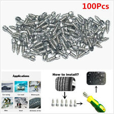 100Pcs 15mm Screw in Tire Stud Snow Spikes Wheel Tyres Snow Chains + Sleeve Tool