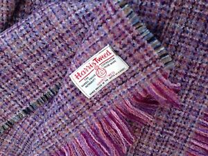 Harris Tweed Scarf Smokey Purple Oversized DOUBLE WIDTH Pink Grey Vintage Black