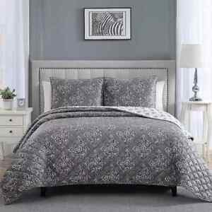 Therapedic Weighted Reversible Twin Size Quilt Set in Gray, w/ 1 Sham, NEW