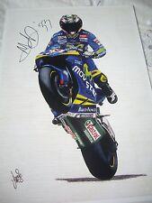 Marco MELANDRI firmato MOVISTAR HONDA RC211V MOTO GP Art Print