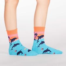 Sock It To Me Junior Crew Socks - Dancing Dolphins - Age: 7-10
