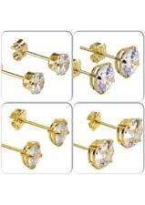 Pendientes de joyería transparentes de oro amarillo de 9 quilates
