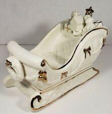Ceramic Gold And Cream Sleigh Santa Christmas Toys Holiday