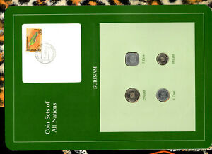 Coin Sets of All Nations Surinam Suriname w/card UNC 1, 5 cents 1982 25,10c 1985