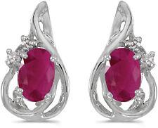14k White Gold Oval Ruby And Diamond Teardrop Earrings