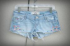 Hollister Size 1-4 Cut Wide Hot Mini Denim Short Shorts Embroidery Beads