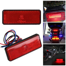Motorcycle Scooter Moped Rectangle Red LED Reflector Tail Brake Light Stop Lamp