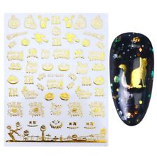 Nail Art Stickers Gold Halloween Pumpkin Ghost Witch Cat Broomstick (STZG36)