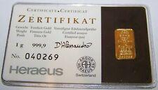 HERAEUS / HOLOGRAMM / KNIEBAR - 999 GOLD - GOLDBARREN - ANLAGE WIE GOLDMÜNZE