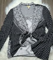 Anthropologie Fig & Flower Layered Black White Floral Long Bell Sleeve Top Sz L