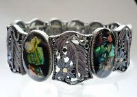 Design Armband hochwert Perlmutt elastisch Metall Schmuck grün silber schwer NEU