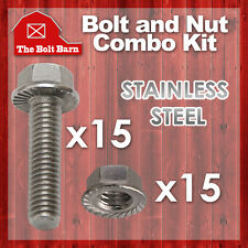 """(15) 5/16-18x3/4 Stainless Steel Serrated Flange Bolts Screws & (15) 5/16"""" Nuts"""