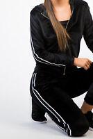 Womens/Ladies Velvet Tracksuit, Loungewear, Sportswear, Gymwear Black