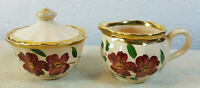 Set of 2 Wade Demitasse Creamer & Sugar Hand Made Painted Floral Made in England