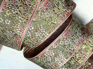"""Vintage Silk 1 7/8"""" Embroidered Flowers Jacquard Metallic1yd Made in France"""