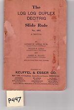 K&E Log-Log Duplex Slide Rule Manual, sliderule, good condition, (P447)