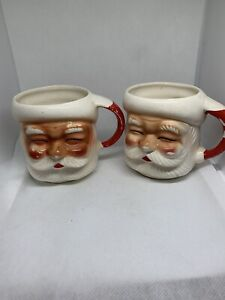 Two Vintage Ruddy Rosy Faces Santa Mugs Cups Japan Christmas