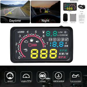 """5.5"""" Car OBD2 HUD Head Up Display Fuel Consumption Speed Warning System + Cable"""