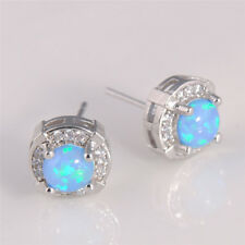 Elegant Women Silver Ear Studs Round Blue Opal Earring Fashion Jewelry 1 Pair