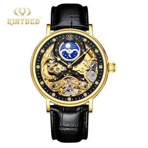 Luxury Mechanical Automatic Waterproof Moon Black Gold WristWatch