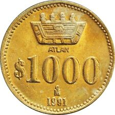 Mexico 1000 Pesos 1991  ATLAN Pattern, KM# Pn249. Brilliant Uncirculated. (#3)