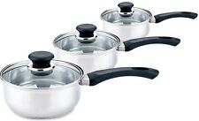 Sabichi Essential 3 Piece Stainless Steel Pan Set With Glass Lids
