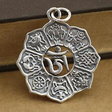 925 Sterling Silver Tibetan Mantra Om Eight Auspicious Lotus Pendant Charm A2470