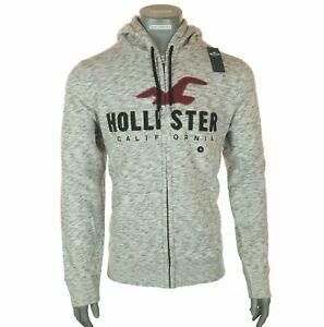 Men's Hollister Zip Hoodie Fleece Lined Embroidered Sweatshirt Grey M L XL 2XL